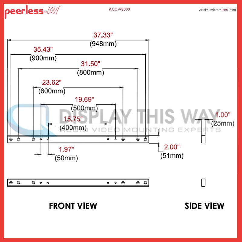 Peerless Acc V900x Adaptor Rails For Vesa 600 800 And 900mm
