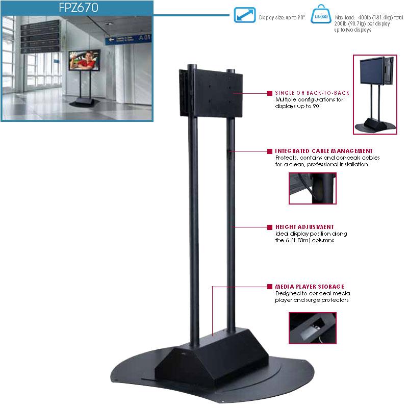 Peerless Fpz 670 Flat Screen Floor Pedestal For Xl Screens