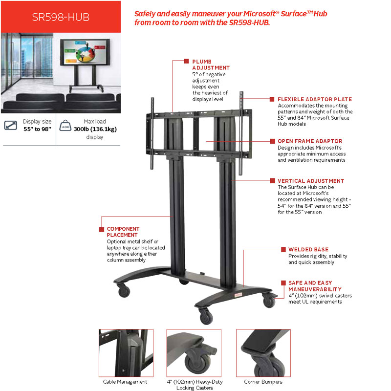 Peerless Sr598 Hub Smartmount Cart For Microsoft Surface Hub