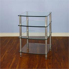 View a larger image of the VTI AGR404S AGR Series 4 Shelf Audio Rack (Silver Pole Clear Glass).
