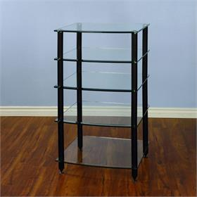 View a larger image of the VTI AGR405B AGR Series 5 Shelf Audio Rack (Black Pole Clear Glass).