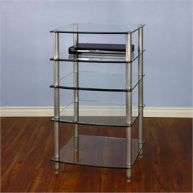 View a larger image of the VTI AGR405S AGR Series 5 Shelf Audio Rack (Silver Pole Clear Glass).
