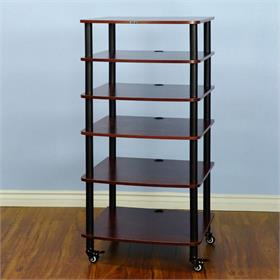 View a larger image of the VTI AR406BC AR Series 6 Shelf Audio Rack (Black Pole Cherry Shelf).