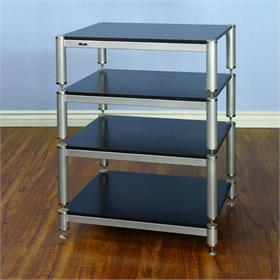 View a larger image of the VTI BL404SSB BL Series Audio Rack (Silver Cap Silver Pole Black Shelf).