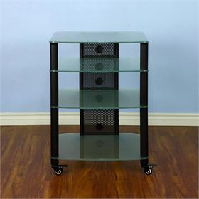 View a larger image of the VTI NGR404BF NGR Series 4 Shelf AV Rack (Black Pole Frosted Glass).