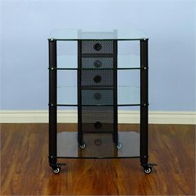 View a larger image of the VTI NGR404BW NGR Series 4 Shelf AV Rack (Black Pole Clear Glass).