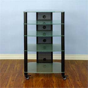 View a larger image of the VTI NGR405BF NGR Series 5 Shelf AV Rack (Black Pole Frosted Glass).