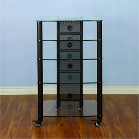 View a larger image of the VTI NGR405BW NGR Series 5 Shelf AV Rack (Black Pole Clear Glass).