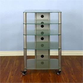 View a larger image of the VTI NGR405SF NGR Series 5 Shelf AV Rack (Silver Pole Frosted Glass).