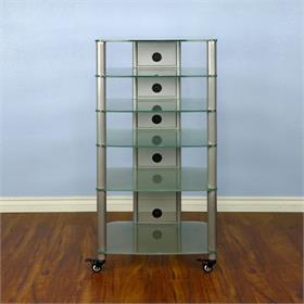View a larger image of the VTI NGR406SF NGR Series 6 Shelf AV Rack (Silver Pole Frosted Glass).