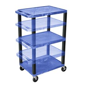 View a larger image of the Luxor WT1642BU-B Blue 3 Shelf Multi Height Cart.
