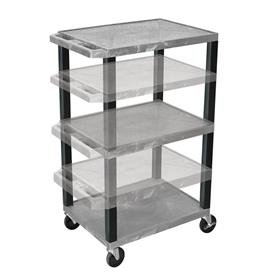 View a larger image of the Luxor WT1642GY-B Gray 3 Shelf Multi Height Cart.