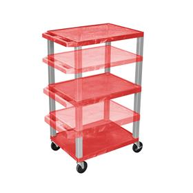 View a larger image of the Luxor WT1642R-N Red 3 Shelf Multi Height Cart.