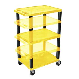View a larger image of the Luxor WT1642Y-B Yellow 3 Shelf Multi Height Cart.