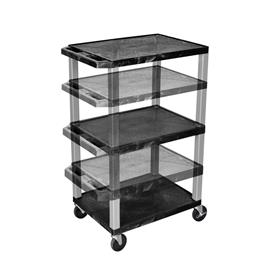 View a larger image of the Luxor WT1642-N 3 Black Shelf Multi Height Cart.