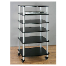 Portable mobile audio racks have casters for easy relocation.