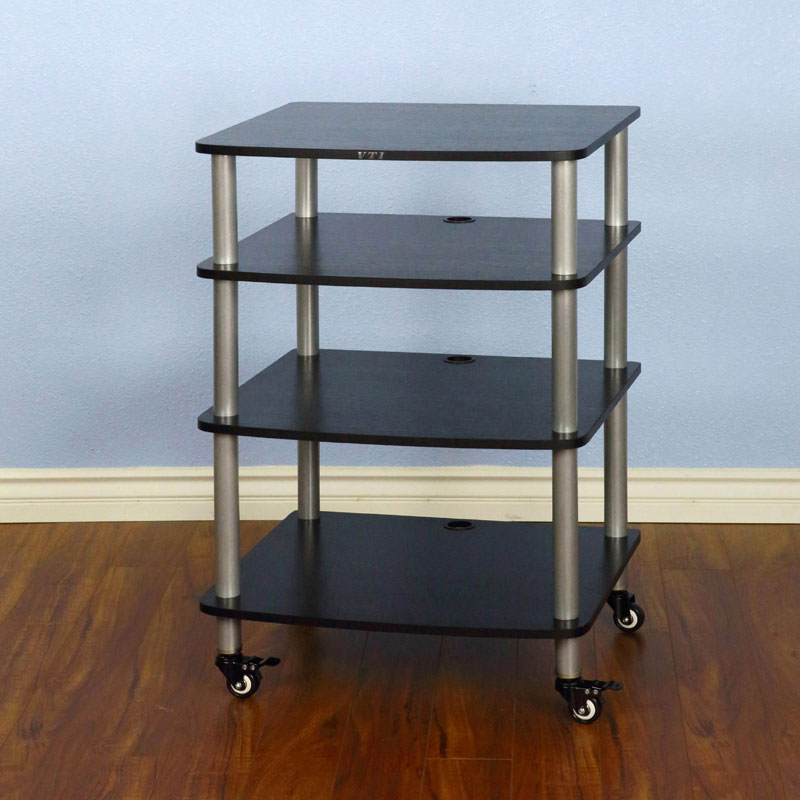 Silver Cap//Spikes and Cherry Shelf. VTI BL304SC 4 Shelf Audio Rack TV Stand up to 27 TVs with Black Frame