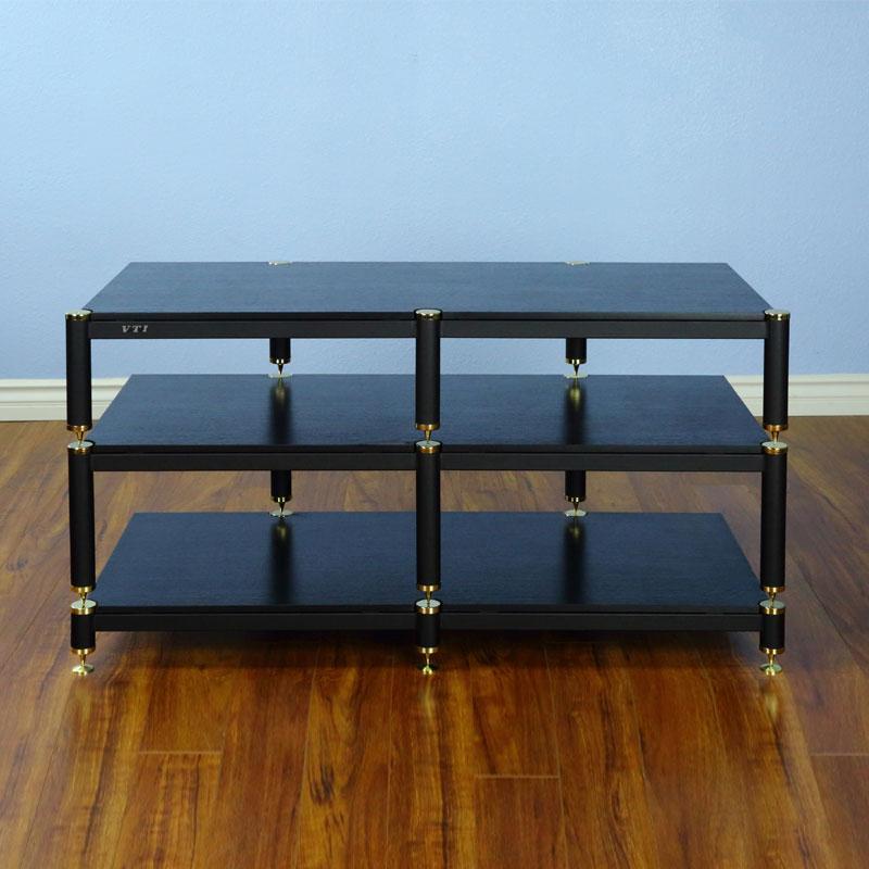 detailed look 788bf ea0ce VTI BL503GB BL Series TV Stand (Gold Cap Black Pole Black Shelf)