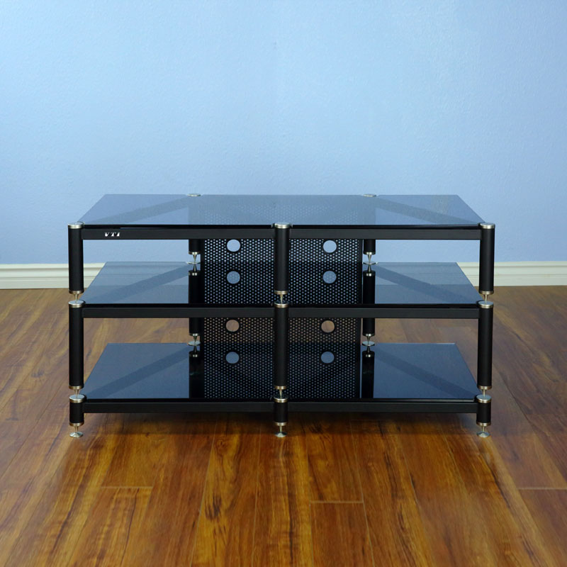 Vti Blg503sb Blg Series Tv Stand Silver Cap Black Pole Black Glass