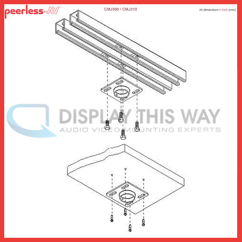 Peerless Cmj300 4x4 Unistrut Or Structural Ceiling Plate
