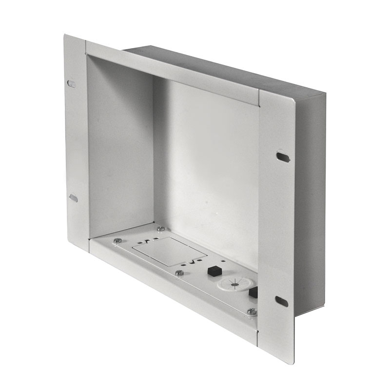 peerless iba2 w large white recessed cable management storage box rh displaythisway com recessed tv wiring box arlington recessed tv wiring box