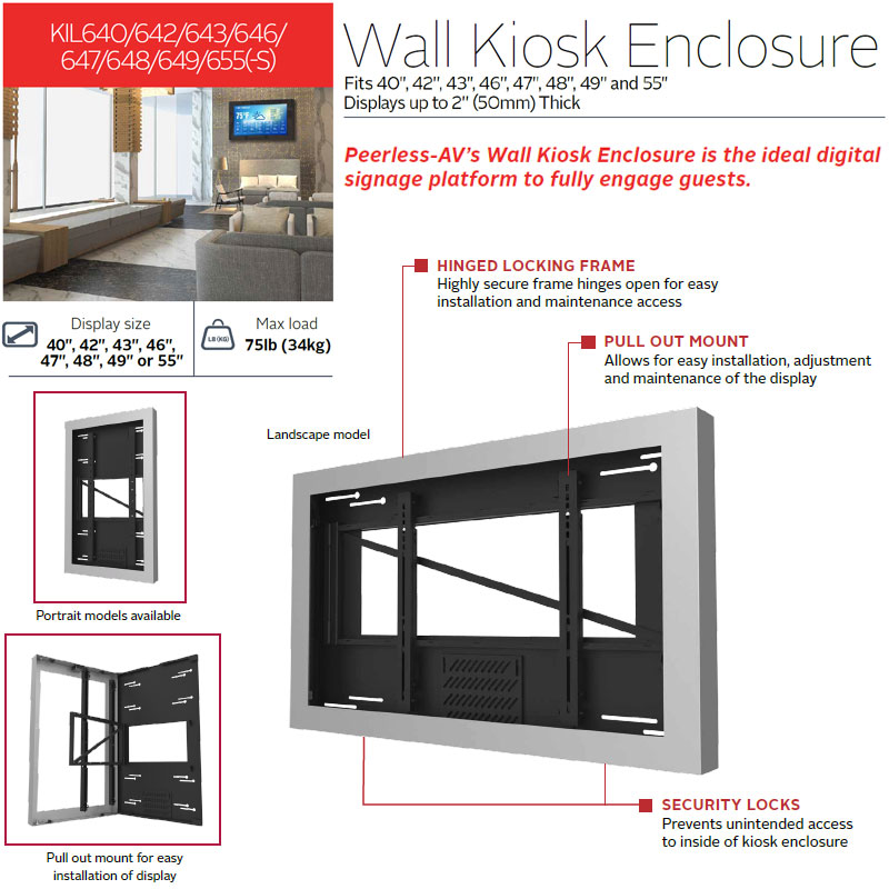 Peerless Kil655 Black Indoor Landscape Wall Kiosk
