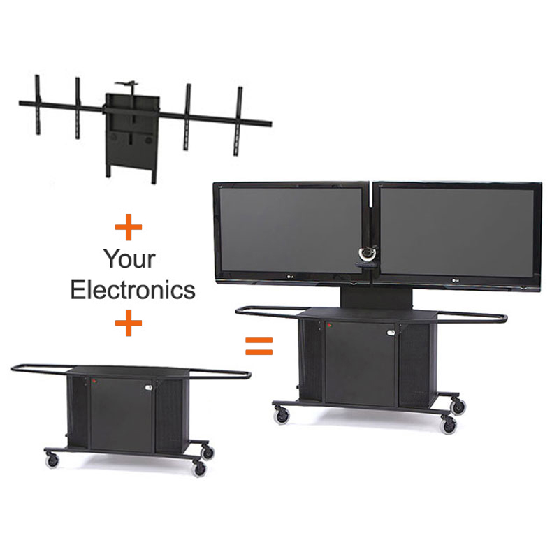 View Larger Image Of The Avfi Dual Display Cart For 42 70 Inch Monitors Mc1000