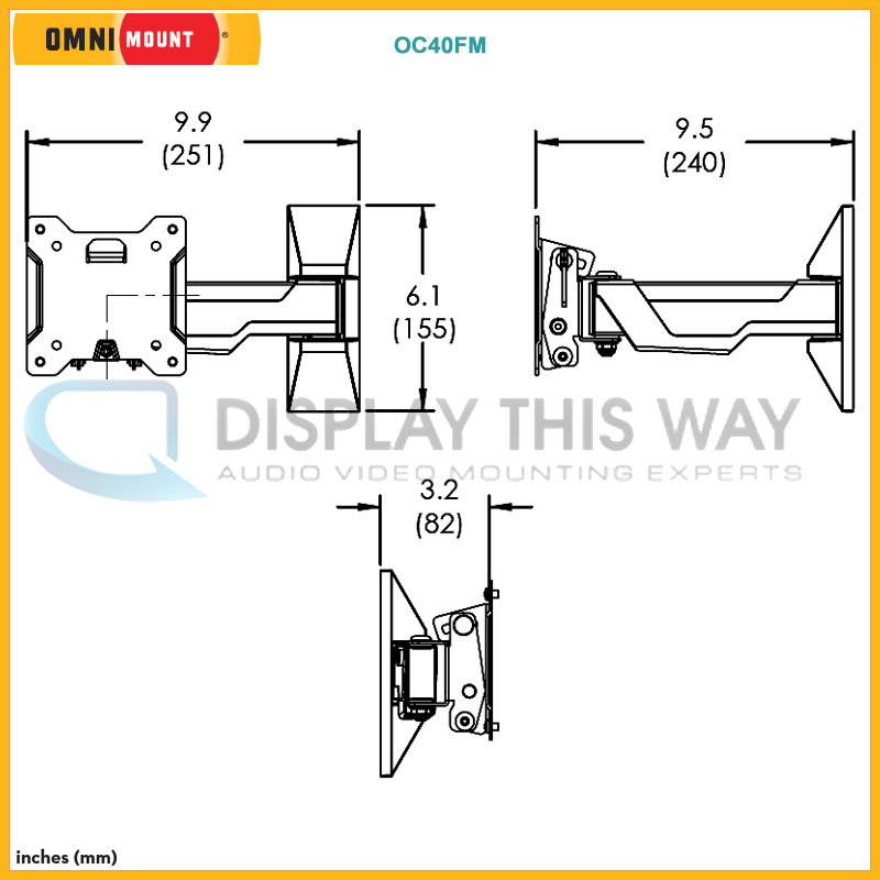 Omnimount Classic Series Small Full Motion Tv Wall Mount