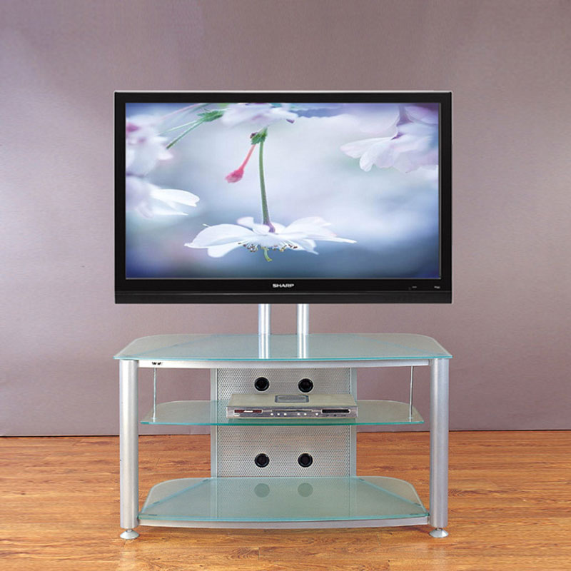 VTI RFR403SF RFR Series TV Stand with Mount (Silver Frame Frosted Glass)