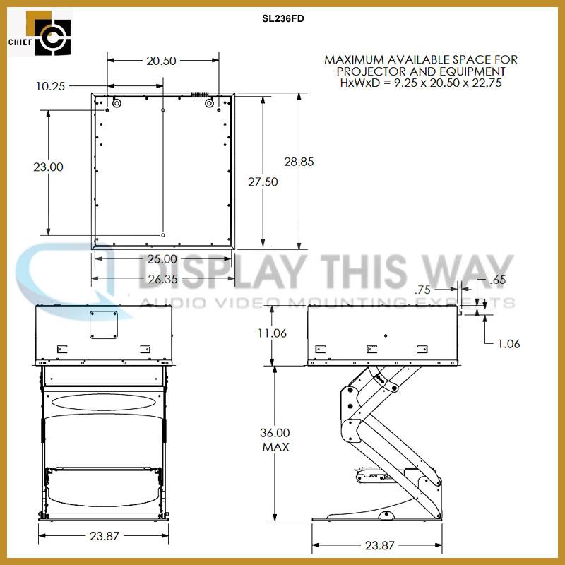 Chief Sl236fd Smart Lift 32 Inch Projector Lift Fixed
