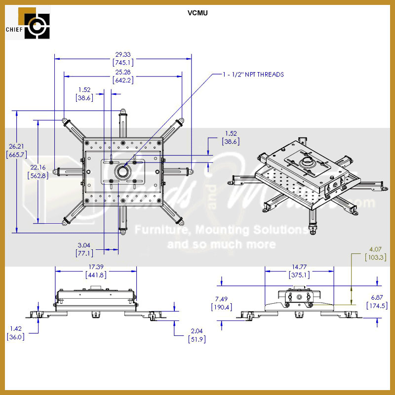 Chief Vcmu Black Heavy Duty Universal Projector Mount