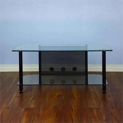 View a larger image of the VTI AGR44B AGR Series 44 inch TV Stand (Black Pole Clear Glass).