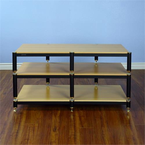 Vti Bl503go Bl Series Tv Stand Gold Cap Black Pole Oak Shelf