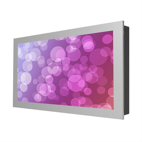 "View a larger image of the Peerless KIL746-S Silver Indoor Landscape In-Wall Kiosk Enclosure for 46"" Screens."