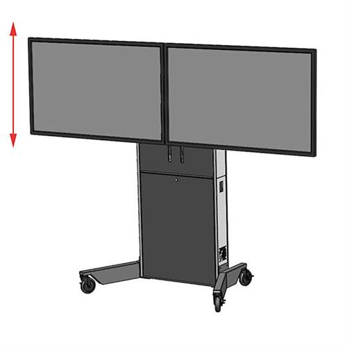 View a larger image of the Audio Visual Furniture LFT7000-D Dual Screen Electric Lift Cart.