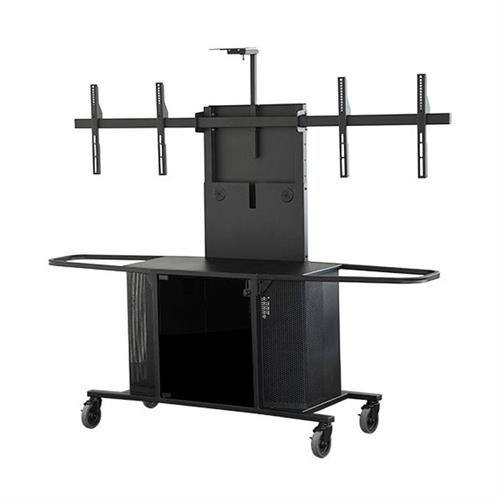View a larger image of the Audio Visual Furniture MC1000-D PACKAGE K Large Dual Display Cart here.