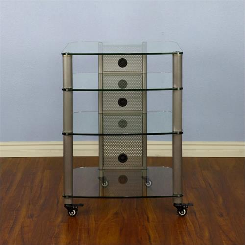 View a larger image of the VTI NGR404SW NGR Series 4 Shelf AV Rack (Silver Pole Clear Glass).