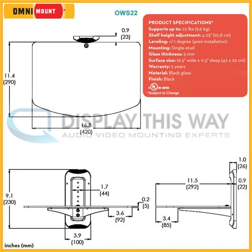 Omnimount ows22 small glass component wall shelf ccuart Image collections