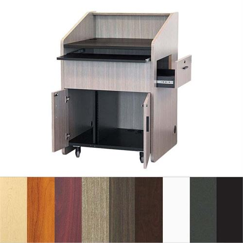 View a larger image of the Audio Visual Furniture PD3006 Mid Size Podium with Rack (10RU).