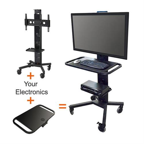View a larger image of the Audio Visual Furniture PM-S-FL PACKAGE F Mobile Cart with Work Shelf.