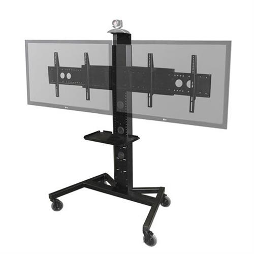 View a larger image of the Audio Visual Furniture PM-XFL-D Large Mobile Dual Display Cart.