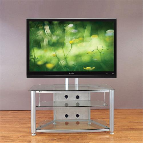 View a larger image of the VTI RFR403SW RFR Series TV Stand with Mount (Silver Frame Clear Glass).