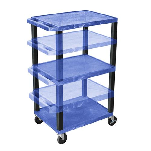 View a larger image of the Luxor WT1642BUE-B Blue 3 Shelf Multi Height Cart with Electric.