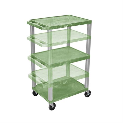 View a larger image of the Luxor WT1642G-N Green 3 Shelf Multi Height Cart.