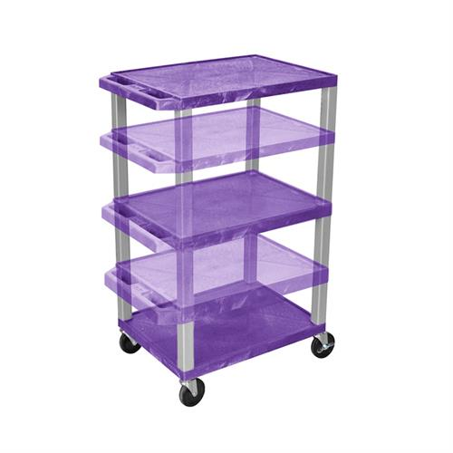 View a larger image of the Luxor WT1642P-N Purple 3 Shelf Multi Height Cart.