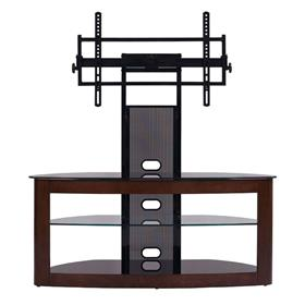 View a larger image of the TransDeco Glass TV Stand with Mount for 35 to 80 inch Screens (Dark Oak and Black)  here.