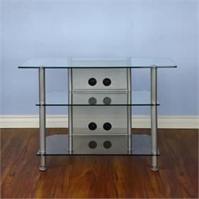 View a larger image of the VTI AGR37S AGR Series 37 inch TV Stand (Silver Pole Clear Glass).