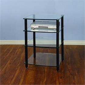 View a larger image of the VTI AGR404B AGR Series 4 Shelf Audio Rack (Black Pole Clear Glass).
