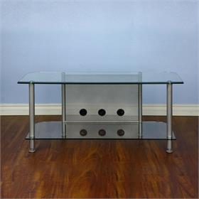 View a larger image of the VTI AGR44S AGR Series 44 inch TV Stand (Silver Pole Clear Glass).