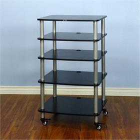 View a larger image of the VTI AR405SB AR Series 5 Shelf Audio Rack (Silver Pole Black Shelf).